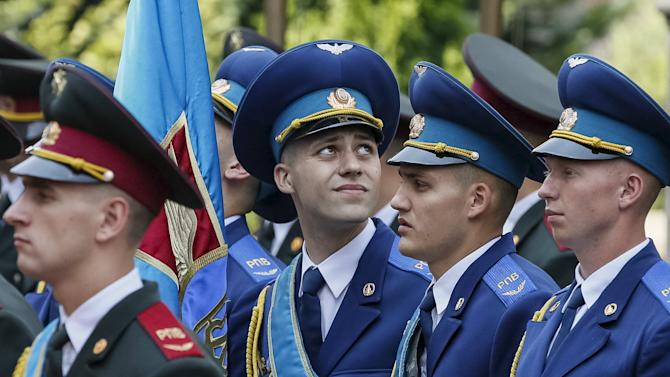 The guard of honour takes part in a welcoming ceremony for Bulgarian President in Kiev