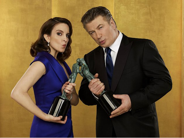 Tina Fey and Alec Baldwin poses for a portrait at the TNT/TBS broadcast of the 16th Annual Screen Actors Guild Awards at the Shrine Auditorium on January 23, 2010 in Los Angeles, California. 