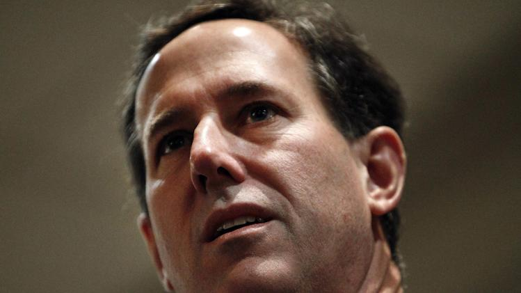 Republican presidential candidate, former Pennsylvania Sen. Rick Santorum, speaks at a Tea Party rally in St. Clair Shores, Saturday, Feb. 25, 2012. (AP Photo/Paul Sancya)