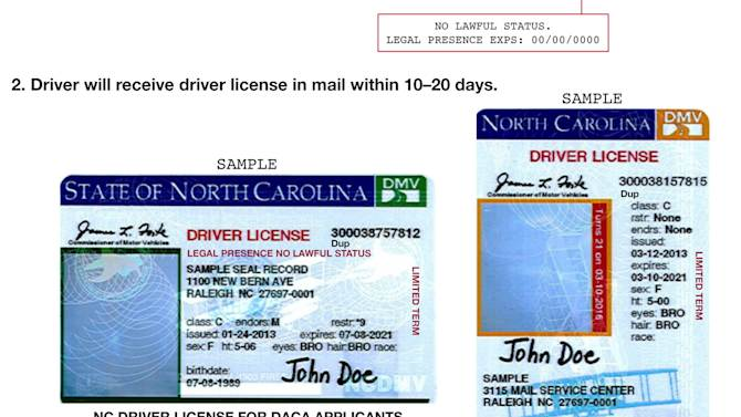"""This image shows a portion of press release distributed by the North Carolina Department of Motor Vehicles which illustrates new driver's licenses for applicants of Deferred Action for Childhood Arrivals. Transportation Department spokesman Mike Charbonneau said Thursday, March 21, 2013 that the state opted against the pink licenses because the computer and printing coding is easier if the licenses are the same as those for other drivers. The state will begin issuing licenses Monday to young adults brought to the U.S. as children without legal authorization. Under an Obama administration program, they now qualify for work permits. The licenses still say """"NO LAWFUL STATUS."""" (AP Photo/North Carolina Department of Motor Vehicles)"""