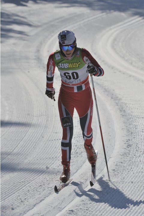 Norway's Weng competes in the ladies' 10 km cross-country skiing World Cup event at the Lahti Ski Games in Lahti