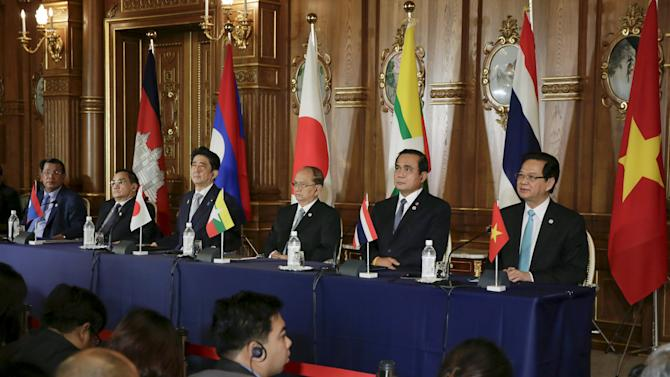 Leaders from the Mekong region countries and Japan attend a joint press during the seventh Mekong-Japan Summit meeting at Akasaka State Guesthouse in Tokyo