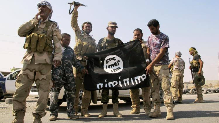 Iraqi security forces and Shi'ite militias pull down a flag belonging to Islamic State militants in Amerli