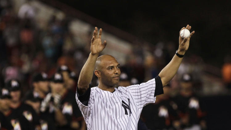 "Former New York Yankees Mariano Rivera acknowledges fans before an exhibition game ""Legend Series"" at the Rod Carew Stadium in Panama City"