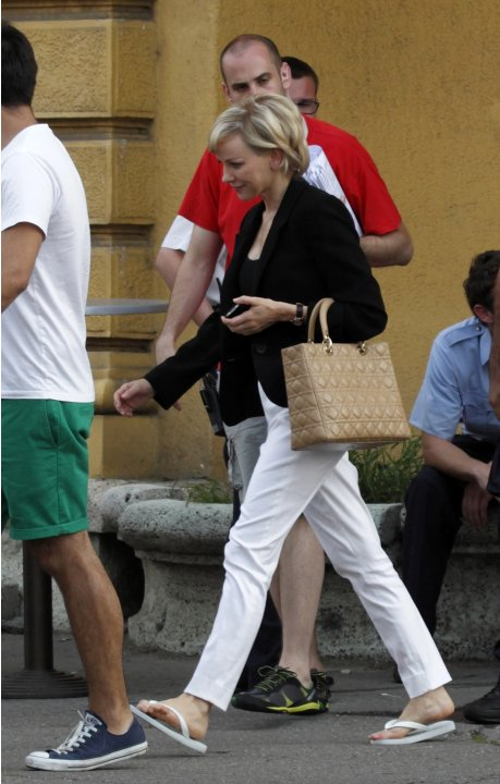 British actress Naomi Watts leaves a set in Zagreb