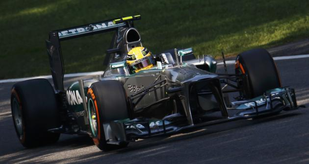 Mercedes Formula One driver Hamilton drives during the third practice session of the Italian F1 Grand Prix at the Monza circuit