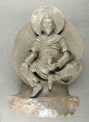 "The undated photo provided by University of Stuttgart shows an ancient Buddhist statue that a Nazi expedition brought back from Tibet shortly before World War II. The statue was carved from a meteorite which crashed on Earth thousands of years ago.  What sounds like an Indiana Jones movie plot appears to have actually taken place, according to European researchers publishing in the journal Meteoritics and Planetary Science this month. Elmar Buchner of the University of Stuttgart, said Thursday Sept 27 2012 that the statue was brought to Germany by the Schaefer expedition. The Nazi-backed venture set out for Tibet in 1938 in part to trace the origins of the Aryan race _ a cornerstone of the Nazis' racist ideology. The existence of the statue _ known as ""iron man"" _ was only revealed  in 2007 when its owner died and it came up for auction, Buchner told The Associated Press. (AP Photo/University of Stuttgart, Elmar Buchner)"