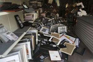 Frames lay in a pile at a framing business damaged by Sunday's magnitude 6.0 earthquake in Napa