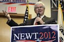 Republican presidential candidate, former House Speaker Newt Gingrich speaks in Cramerton, N.C., Wednesday, April 25, 2012. Gingrich began taking steps Wednesday to shut down his debt-laden White House bid, setting the stage to endorse one-time rival Mitt Romney next week and rally Republicans behind their apparent nominee. (AP Photo/Chuck Burton)