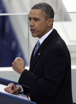 President Barack Obama delivers his Inaugural address at his ceremonial swearing-in at the U.S. Capitol during the 57th Presidential Inauguration in Washington, Monday, Jan. 21, 2013. (AP Photo/Evan Vucci)