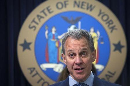 New York State Attorney General Schneiderman speaks during news conference about settlement announced against Bank Of America in Manhattan borough of New York