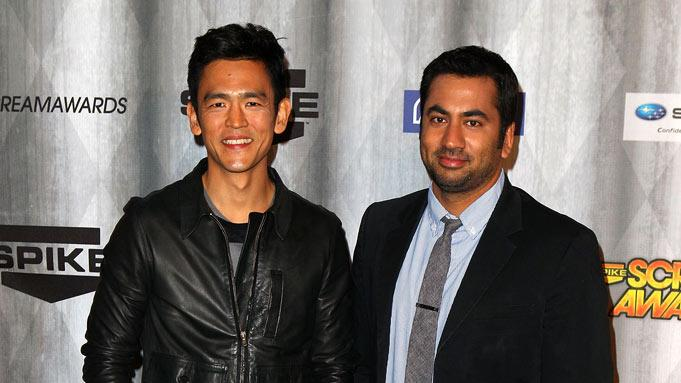 "John Cho and Kal Penn arrive at Spike TV's ""Scream 2011"" at Universal Studios on October 15, 2011 in Universal City, California."