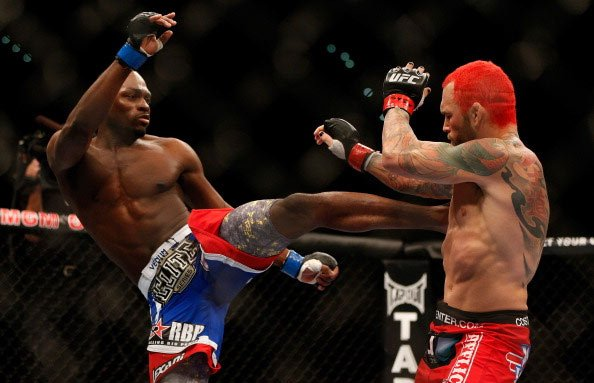 LAS VEGAS, NV - DECEMBER 29: (L-R) Derek Brunson versus Chris Leben during their middleweight fight at UFC 155 on December 29, 2012 at MGM Grand Garden Arena in Las Vegas, Nevada. (Photo by Josh Hedge