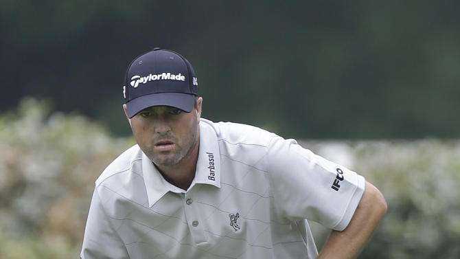 Ryan Palmer lines up a putt on the fifth hole during the first round of the Colonial golf tournament Thursday, May 23, 2013, in Forth Worth, Texas.  (AP Photo/LM Otero)