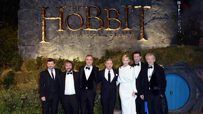 """From left, Andy Serkis, Peter Jackson, James Nesbitt, Martin Freeman, Cate Blanchett, Richard Armitage and Ian McKellan at the UK premiere of """"The Hobbit: An Unexpected Journey"""" at The Odeon Leicester Square,London on Wednesday, Dec. 12, 2012. (Photo by Jon Furniss/Invision/AP)"""