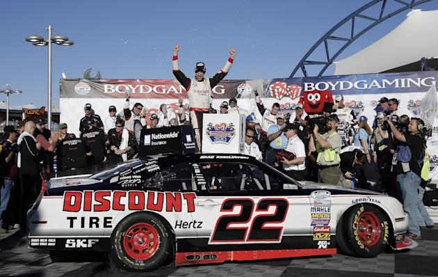 Brad Keselowski celebrates in Victory Lane after winning the NASCAR Nationwide Series auto race Saturday, March 8, 2014, in Las Vegas