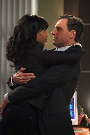 This image released by ABC shows Kerry Washington as Olivia Pope, left, and Tony Goldwyn as President Fitzgerald Grant in a scene from the ABC series &quot;Scandal.&quot; (AP Photo/ABC, Richard Cartwright)