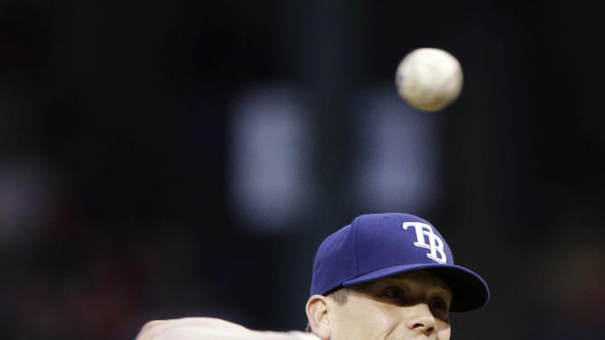Tampa Bay Rays starting pitcher Jeremy Hellickson (58) throws during the first inning of a baseball game against the Texas Rangers, Monday, April 8, 2013, in Arlington, Texas. (AP Photo/LM Otero)