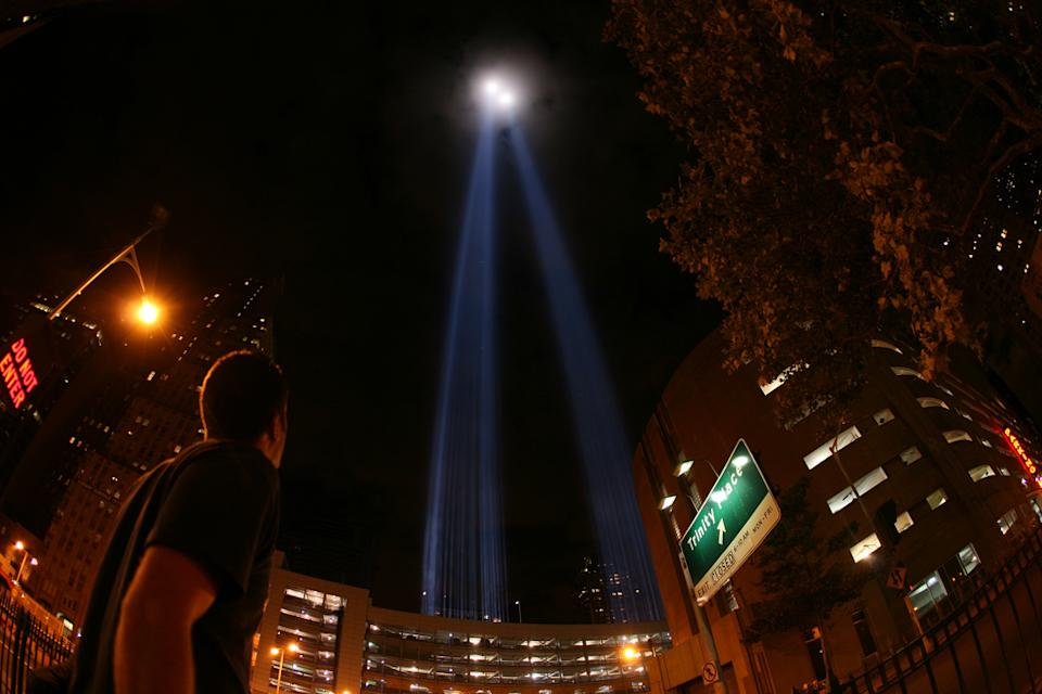 "This undated image released by PBS shows beams of light rising above lower Manhattan forming the Tribute in Light memorial from the documentary ""The City Dark,"" airing July 5 at 10 p.m. on PBS stations. (AP Photo/PBS)"