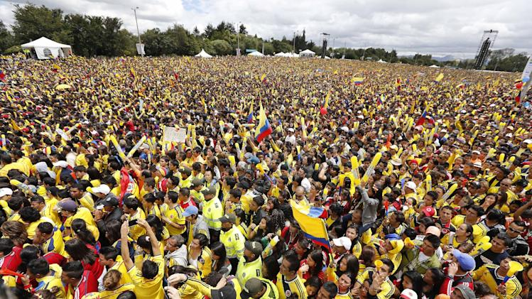 Supporters welcome home Colombia's national soccer team from the World Cup, in Bogota, Colombia, Sunday, July 6, 2014. Thousands of fans turned out for the Sunday homecoming of superstar James Rodriguez, his teammates and coach Jose Pekerman following their 2-1 loss to Brazil in the quarterfinals on Friday. (AP Photo/Fernando Vergara)