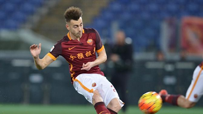 Roma's forward Stephan El Shaarawy kicks the ball during an Italian Serie A football match against Sampdoria at the Olympic Stadium in Rome on February 7, 2016