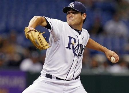 Rays starting pitcher Matt Moore throws during the first inning of their MLB American League baseball game against the Yankees in St. Petersburg, Florida