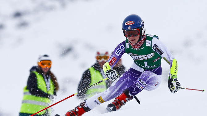 Shiffrin from the US clears a gate during the first run of the World Cup Women's Giant Slalom race in Kuehtai ski resort