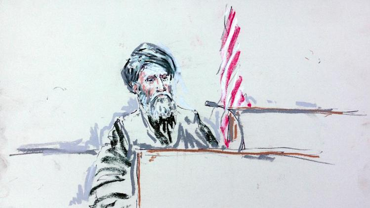 In this courtroom sketch, Haji Mohammad Naim testifies Tuesday, Aug. 20, 2013, in a courtroom at Joint Base Lewis-McChord south of Seattle. Naim, an Afghan farmer shot during a massacre in Kandahar Province last year, took the witness stand Tuesday at a sentencing hearing for Staff Sgt. Robert Bales, who attacked his village and one other in pre-dawn raids on March 11, 2012, killing 16 civilians. Naim cursed Bales him before breaking down and pleading with the prosecutor not to ask him any more questions. (AP Photo/Peter Millet)