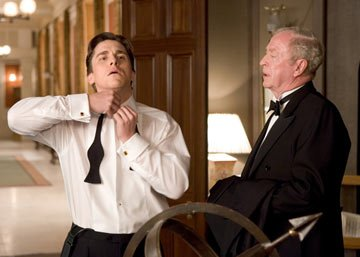 Christian Bale as Bruce Wayne and Michael Caine as Alfred Pennyworth in Warner Bros. Pictures' Batman Begins