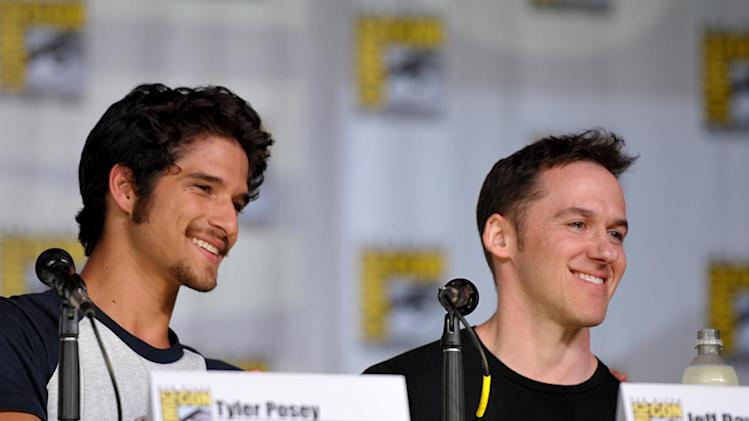 "Actor Tyler Posey, left, and Jeff Davis participate in the ""Teen Wolf"" panel at the San Diego Convention Center on Day 2 of Comic-Con International on Thursday, July 18, 2013, in San Diego, Calif. (Photo by John Shearer/Invision for MTV/AP)"