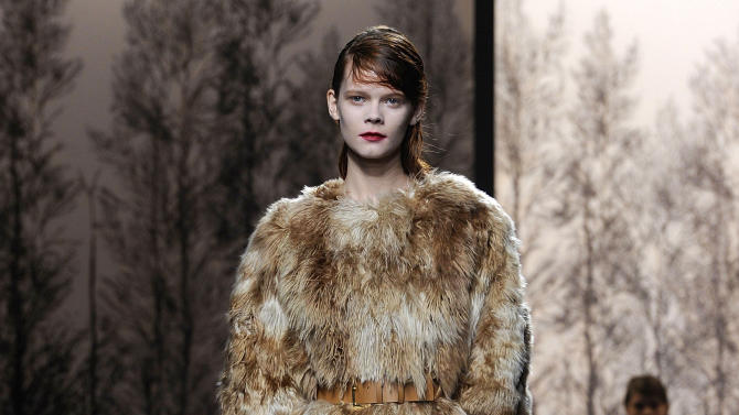 A model wears a creation for Marni women's Fall-Winter 2013-14 collection, part of the Milan Fashion Week, unveiled in Milan, Italy, Sunday, Feb. 24, 2013. (AP Photo/Giuseppe Aresu)
