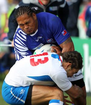 Samoa's Alesana Tuilagi crashes into Namibia's Danie van Wyk during their Rugby World Cup match against Namibia in Rotorua, New Zealand, Wednesday, Sept. 14, 2011. (AP Photo/SNPA,John Cowpland ) NEW ZEALAND OUT