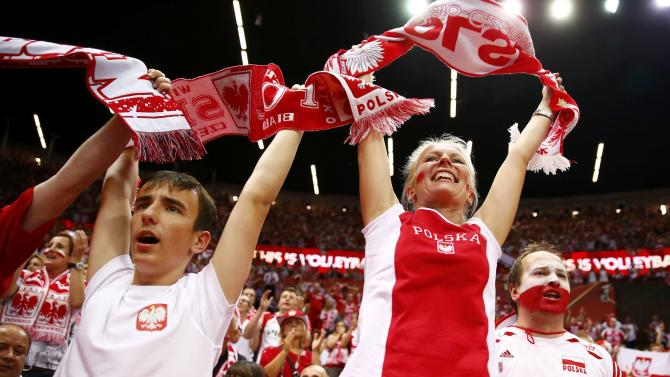 Poland's supporters cheer their team during their final match against Brazil at the FIVB Volleyball Men's World Championship Poland 2014 at Spodek Arena in Lodz