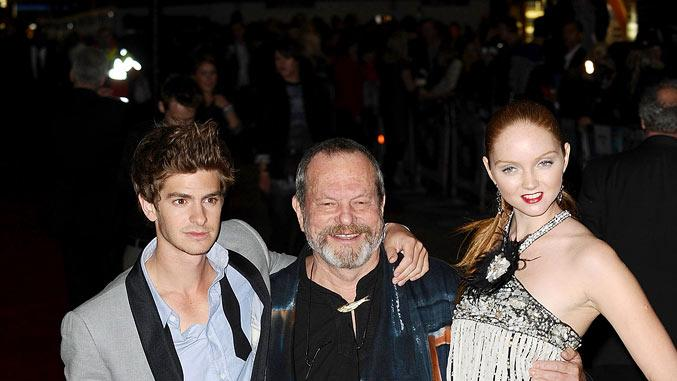 The Imaginarium Of Doctor Parnassus UK Premiere 2009 Andrew Garfield, director Terry Gilliam and Lily Cole