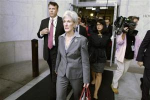 U.S. Health and Human Services Secretary Sebelius departs after testifying before a House Energy and Commerce Committee hearing in Washington