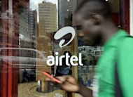 A man walks past an Airtel shop in the Kenyan capital, Nairobi in 2011. US communications and technology company DEMO on Thursday opened a two-day trade fair in the Kenyan capital Nairobi, to showcase innovations and the continent's advances in the telecommunications sector