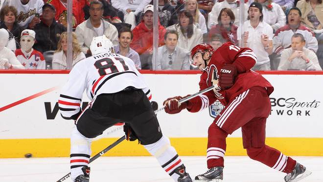 Radim Vrbata #17 Of The Phoenix Coyotes Shoots The Puck Past Marian Hossa #81 Of The Chicago Blackhawks In The Second Getty Images