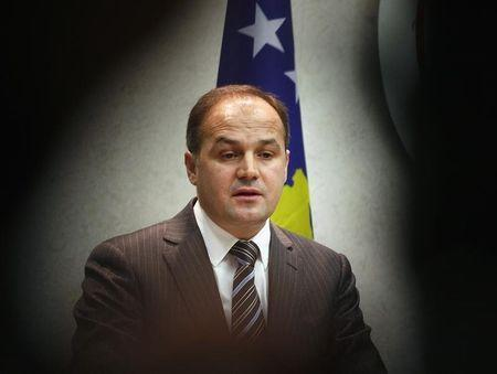 Kosovo's Foreign Minister Hoxhaj speaks during a news conference in Tirana