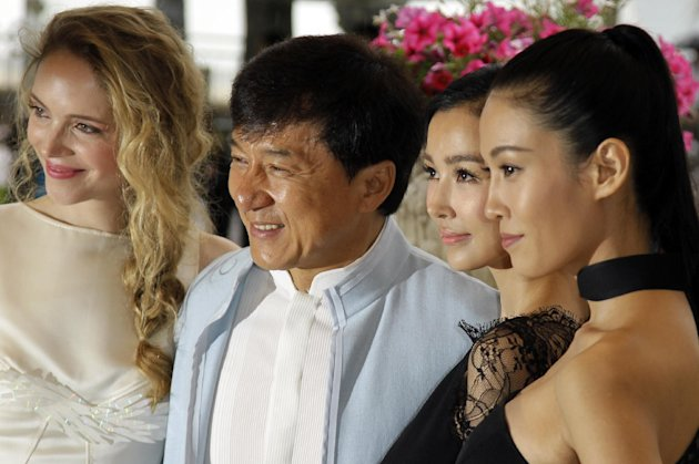From left, Actress Laura Weissbecker, director Jackie Chan, actresses Yao Xingtong, and Zhang Nan Xin pose during a photo call for Chinese Zodiac at the 65th international film festival, in Cannes, southern France, Friday, May 18, 2012. (AP Photo/Francois Mori)