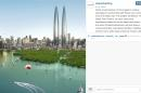 Screen shot of the Dubai Holding instragram account showing a render of the future twins tower in Dubai