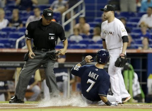 Gallardo, Brewers beat Marlins 6-1 without Braun