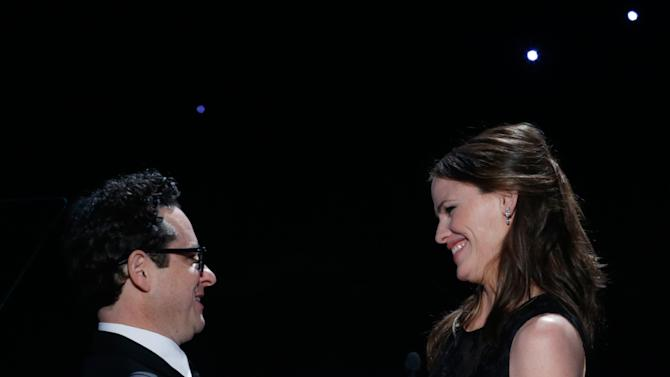J.J. Abrams, left, and Jennifer Garner onstage at the 24th Annual Producers Guild (PGA) Awards at the Beverly Hilton Hotel on Saturday Jan. 26, 2013, in Beverly Hills, Calif. (Photo by Todd Williamson/Invision for The Producers Guild/AP Images)