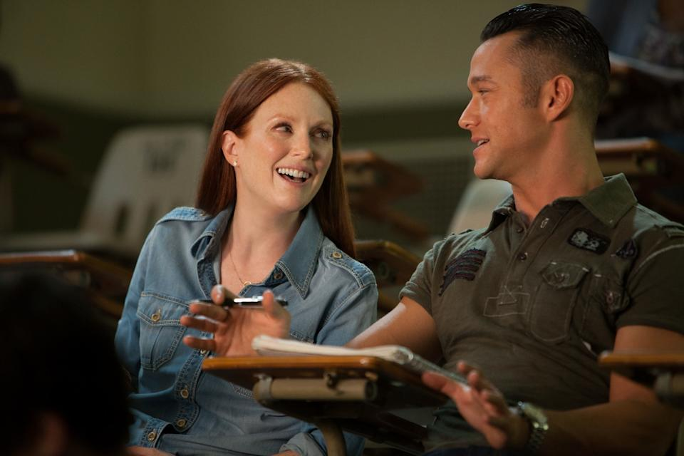 "This film image released by Relativity Media shows Julianne Moore, left, and Joseph Gordon-Levitt in a scene from ""Don Jon"". (AP Photo/Relativity Media, Daniel McFadden)"