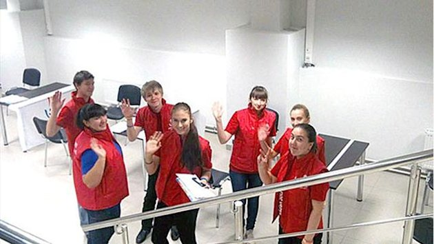 Volunteer recruitment centre in Ekaterinburg stadium