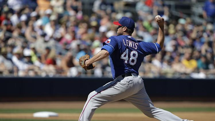 Texas Rangers starting pitcher Colby Lewis throws during an exhibition spring training baseball game against the Seattle Mariners Sunday, March 9, 2014, in Peoria, Ariz. (AP Photo/Darron Cummings)