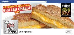 Chef MJ Brando Celebrates National Grilled Cheese Day April 12th With Free Grilled Cheese Sandwiches!