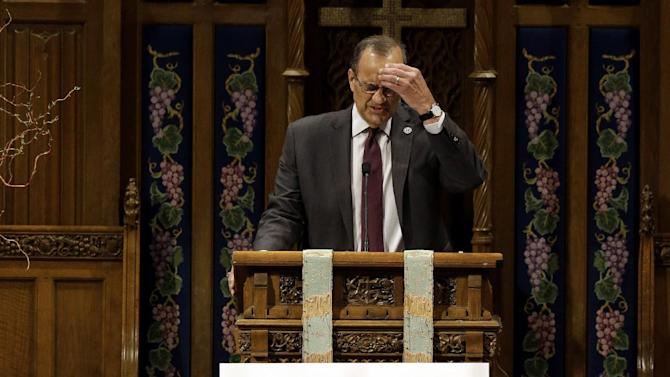"Chief Baseball Officer Joe Torre speaks during an official memorial service for Hall of Fame slugger Ernie Banks at Chicago's Fourth Presbyterian Church on Saturday, Jan. 31, 2015. Banks died Friday at 83 after a heart attack, according to an attorney representing his family. Known as ""Mr. Cub,"" Banks is remembered as much for his boundless enthusiasm despite playing on mostly losing teams as his 512 home runs and two MVP awards. (AP Photo/Nam Y. Huh)"