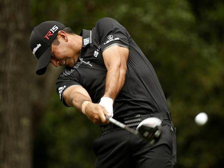 Jason Day of Australia hits a driver off the second tee during final round play of the Masters golf tournament at the Augusta National Golf Course in Augusta