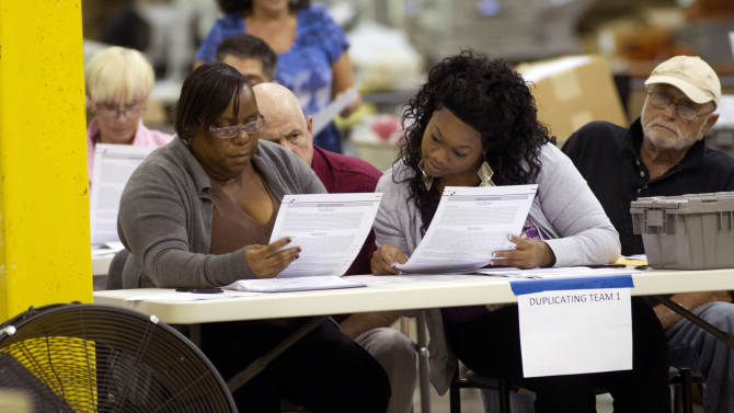 This Oct. 23, 2012, photo shows a Democratic and Republican observer watching as two county election board workers transfer data from an absentee ballot at the Post Beach county election board office in Riviera Beach, Fla. Because of a printing error, somewhere around 27,000 absentee ballots already cast by voters are being painstakingly copied by hand in Palm Beach County to make sure they can be read by a scanning machine. Otherwise, thousands of people could be disenfranchised in the Florida county that was ground zero in the 2000 presidential recount.  (AP Photo/J Pat Carter)