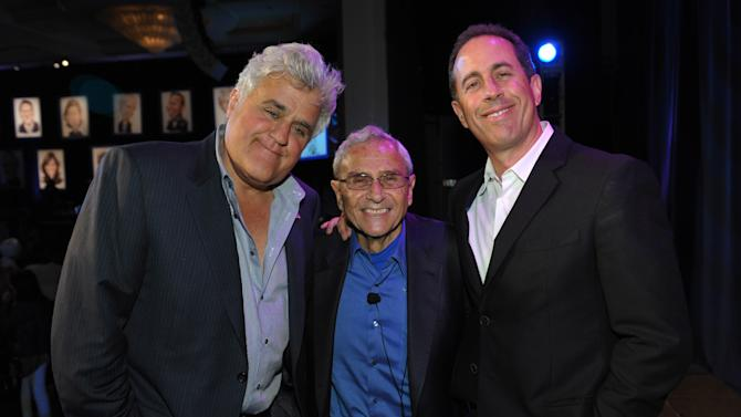 COMMERCIAL IMAGE - From left, Jay Leno, George Shapiro and Jerry Seinfeld attend the David Lynch Foundation:  A Night of Comedy honoring George Shapiro at the Beverly Wilshire Hotel on Saturday June 30, 2012 in Beverly Hills, Calif. (Photo by John Shearer/Invision for David Lynch Foundation/AP Images)